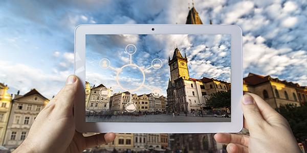 Augmented reality provides digital information over city scape