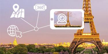 Augmented reality view of the Eiffel Tower with Digital information overlay