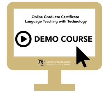 Computer screen reading ONline graduate certificate in language teaching with technology, demo course.