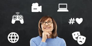 Woman wearing glasses with icons for globe, gaming, video, computer, hashtags, drama arranged above her head
