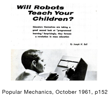 Will Robots Teach your Children, graphic from the 1961 issue of Popular Mechanics.