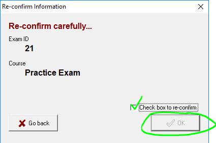 Exam4 confirmation box.