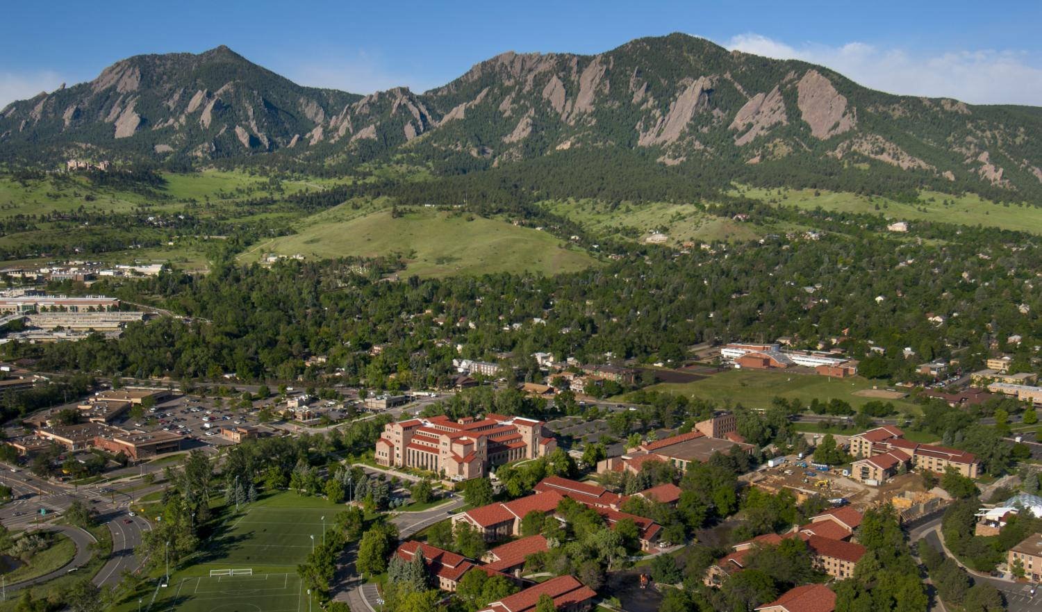 Aerial scenic of the Law School Building and surrounding area