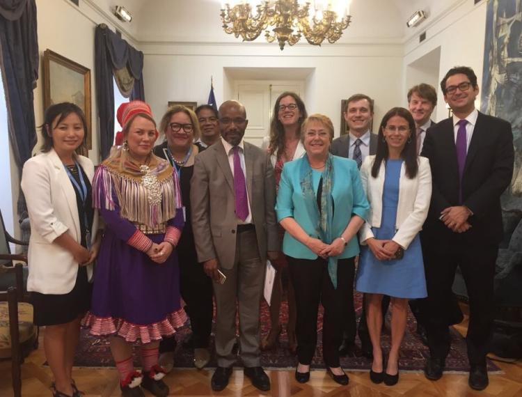 Kristen Carpenter, members of the U.N. Expert Mechanism, and President of Chile Michelle Bachelet