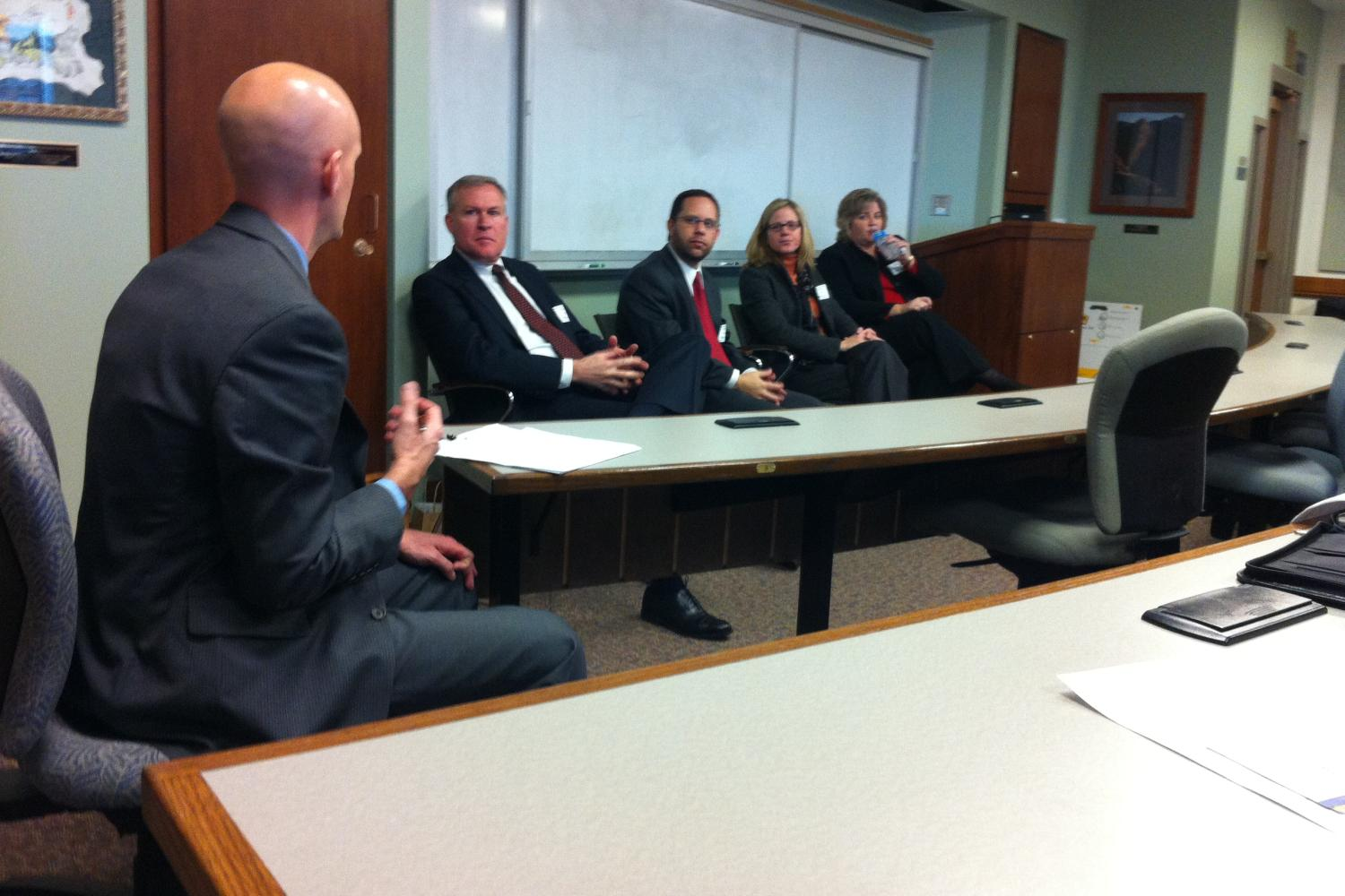 Todd Rogers moderates as Bruce Dahl (Fennemore Craig), David Thrower (Dietze & Davis), Kim Lord (Packard Dierking), and Jane Young (McElroy Deutsch Mulvaney & Carpenter) speak at the Business of Law/Law Firm Economics Panel.