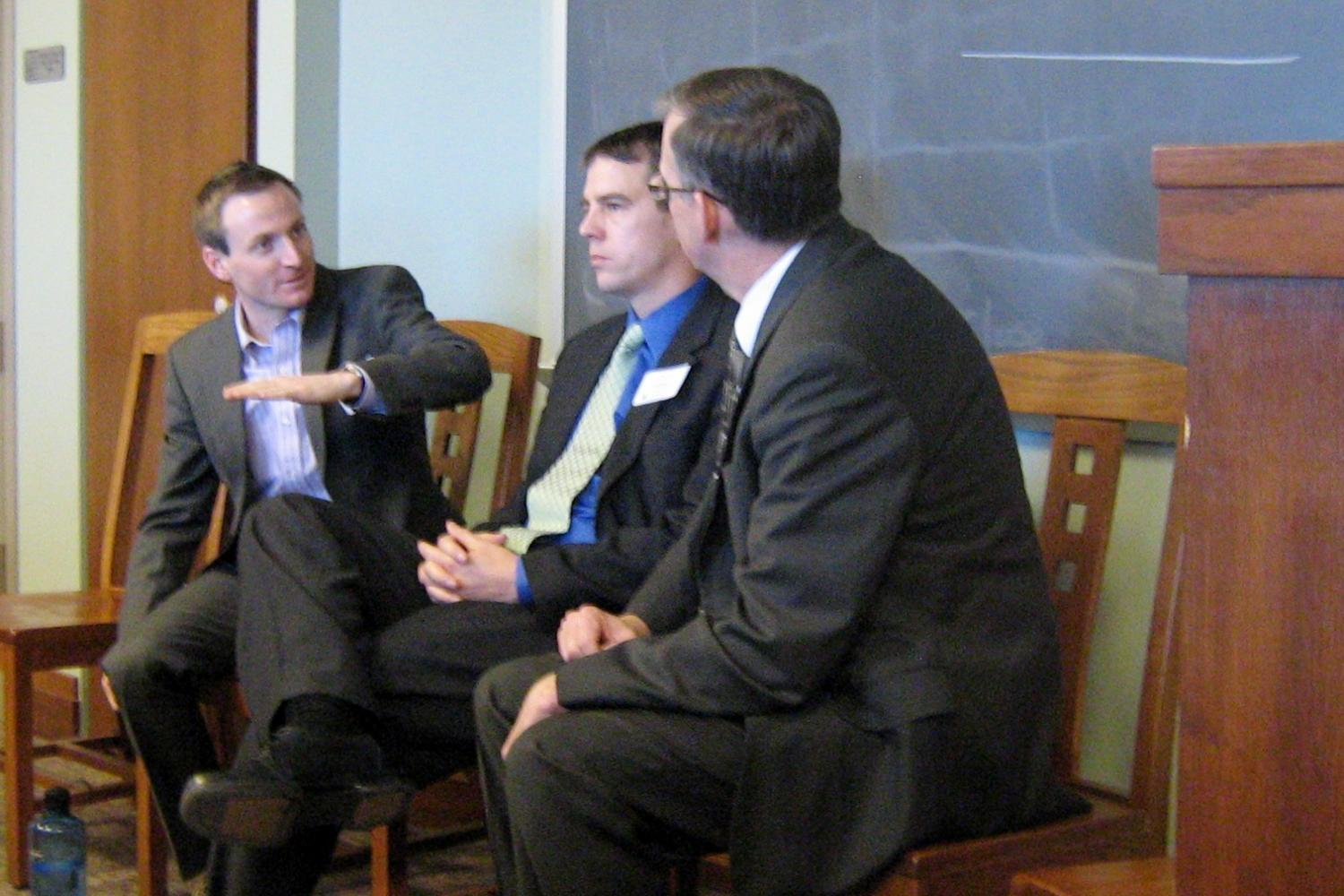 Doyle Baker (4th Judicial District DA's Office), Thom LeDoux (11th Judicial District DA's Office) and Luke McConnell (Colorado Public Defender's Office) speak at the Criminal Law Panel.