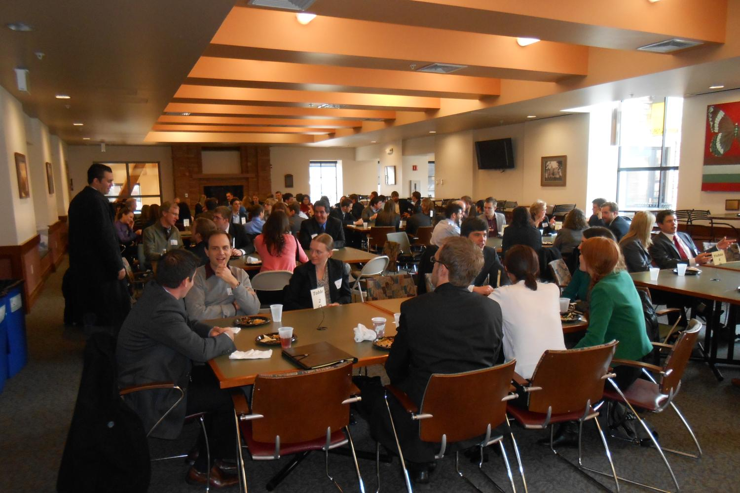 Students create professional connections with employers during the Networking Lunch.