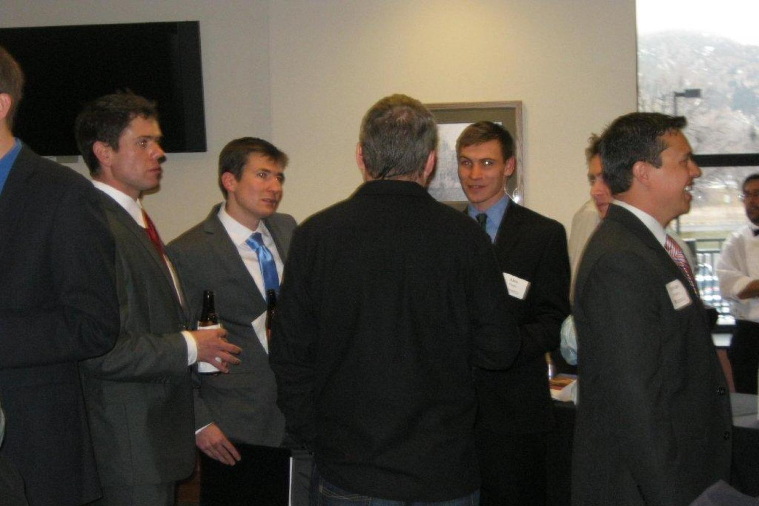 Students create professional connections with employers during the Reception Honoring Employers, sponsored by Husch Blackwell LLP.