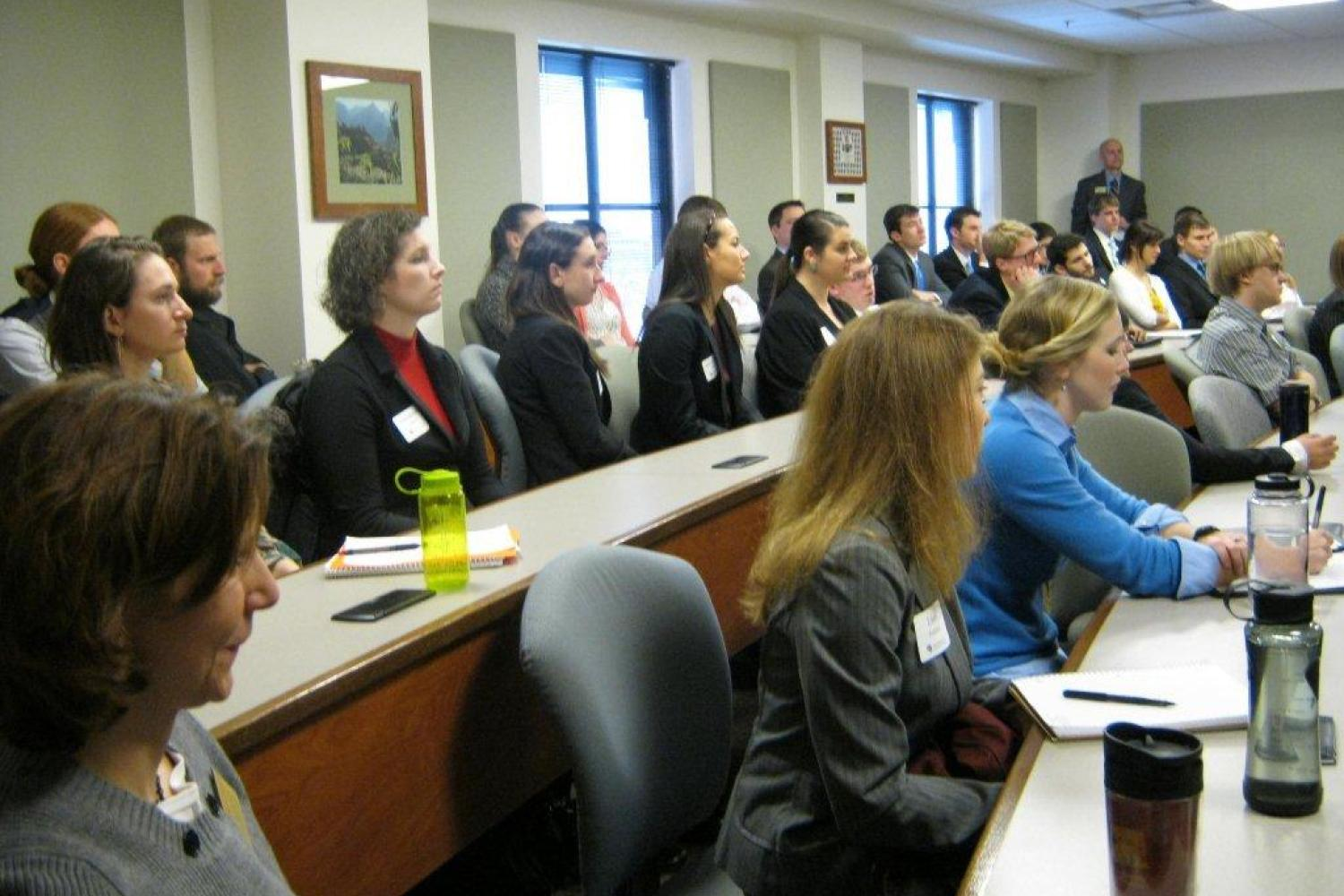 First-year students enjoyed the opportunity to hear about the job hunting experiences of members of the 2L class.