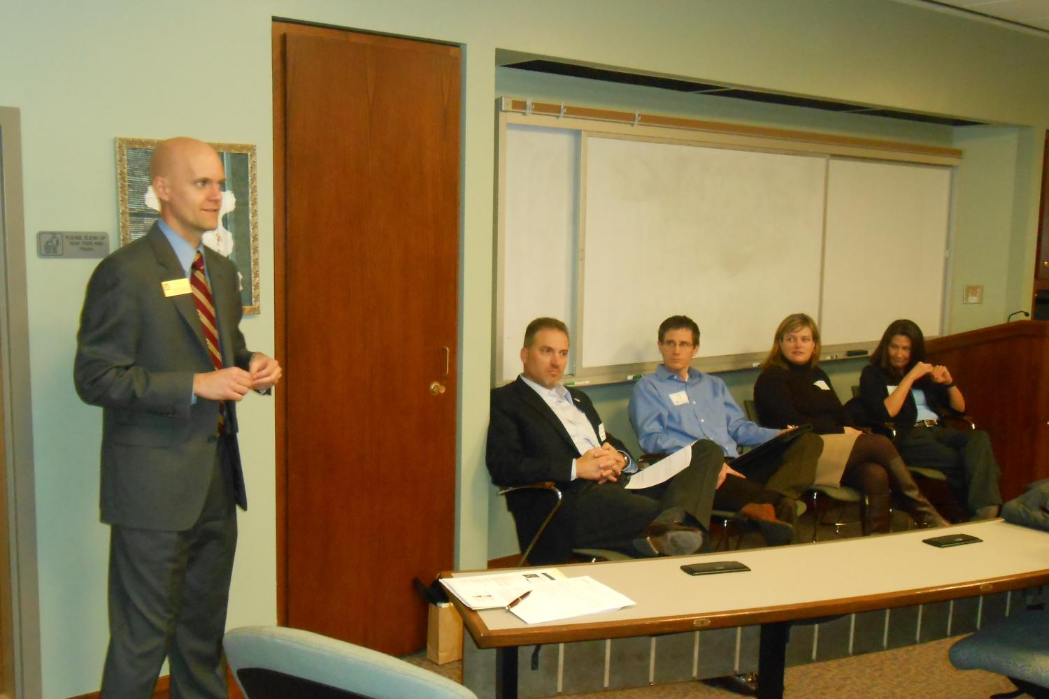 Todd Rogers moderates as Shawn Cheadle (Lockheed Martin Space Systems), Tim Kraft (Boulder Brands), Linda McConnon (Corporate Express), and Erica Tarpey (Ireland Stapleton) speak at the Transactional Law Panel.
