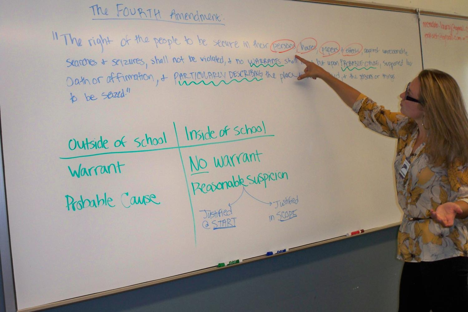 Law student teaching about the Constitution