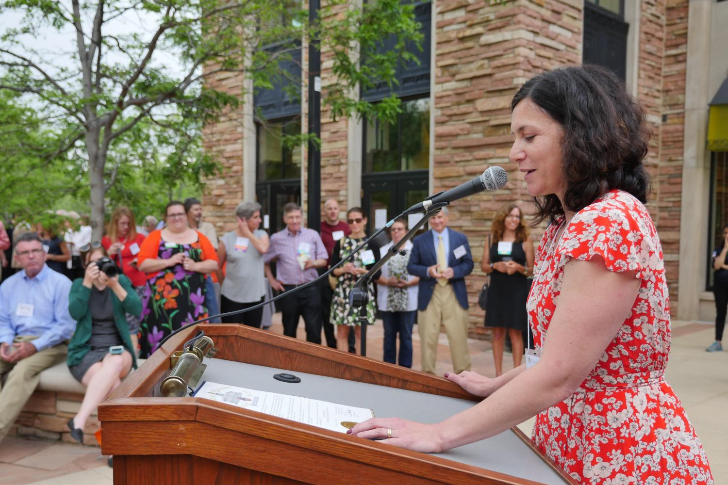 "Jacki Cooper Melmed ('03), chief legal counsel to Governor John W. Hickenlooper, read aloud the proclamation issued by Governor Hickenlooper declaring June 8, 2017 ""125th Anniversary of University of Colorado Law School Day."""