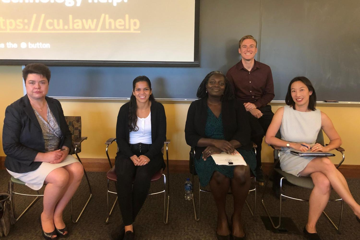 Citizenship Day 2019 Panel Discussion for Immigration Law and Policy Society. L-R Jennifer Kain-Rios, Nicole Soto Quintero (Class of 2021), Atim Otii, Hunter Knapp (Class of 2020, ILPS Board), Ming Hsu Chen (ILPS Faculty-Advisor)