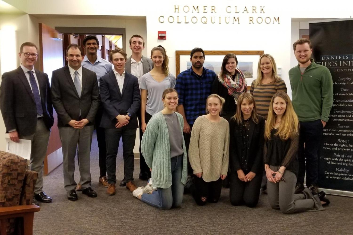 Photo of student winners of ethics writing competition