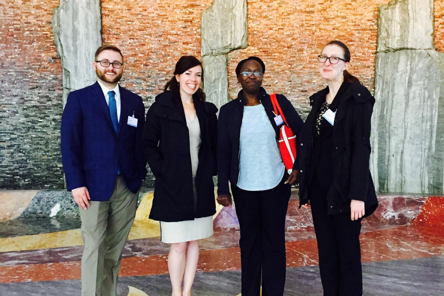 Luke Ewing, Lindsey Knapton, Caroline Ncube, and Gabrielle Daley at the World Intellectual Property Organization in Geneva, Switzerland.