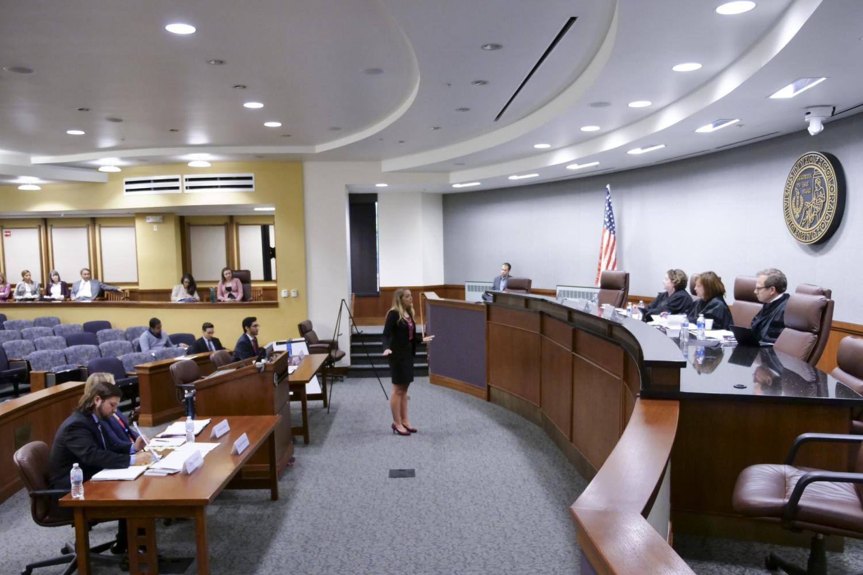 Morgan Pullam ('19) addresses the judges.