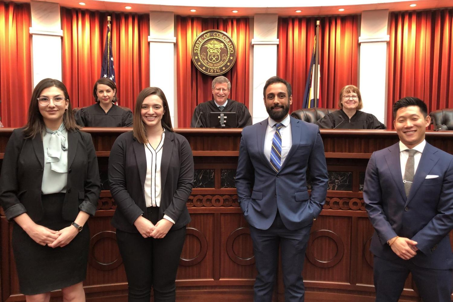 Student Competitors and Judges at the 2020 Rothgerber Moot Court Competition