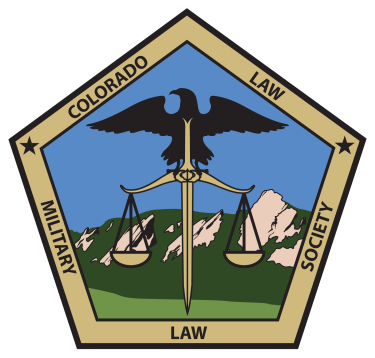 """Gold and Black Pentagon that says """"Colorado Law Military Law Society"""" with black stars in the upper right and upper left corners. Within the pentagon a black military eagle is standing on  a sword that is holding the scales of justice. The background is a drawn image of the Boulder flatirons in green and brown with a blue sky."""