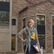 Law student in front of building