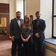 Assistant Clinical Professor Blake Reid ('10) and Technology Law and Policy Clinic student attorneys Kiki Council ('17) and Sean Doran ('17)