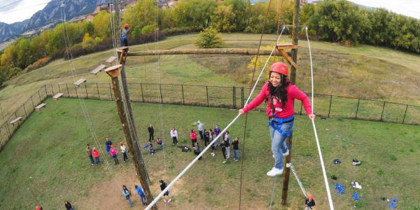 Students participating in a challenge course