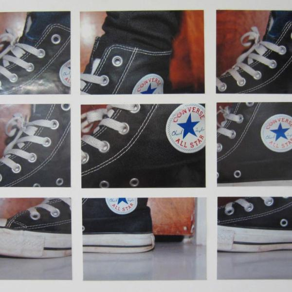 collection of images of a high top shoe from different angles