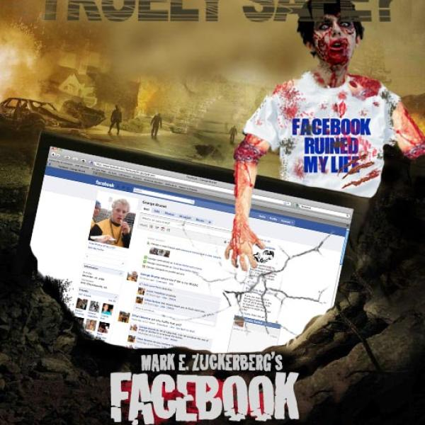 a image of a parody on facebook , where social media makes humans zombies