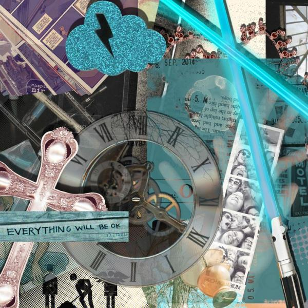 Digital Art self portrait with a cross, clock, photo strip, and other artifacts of a person