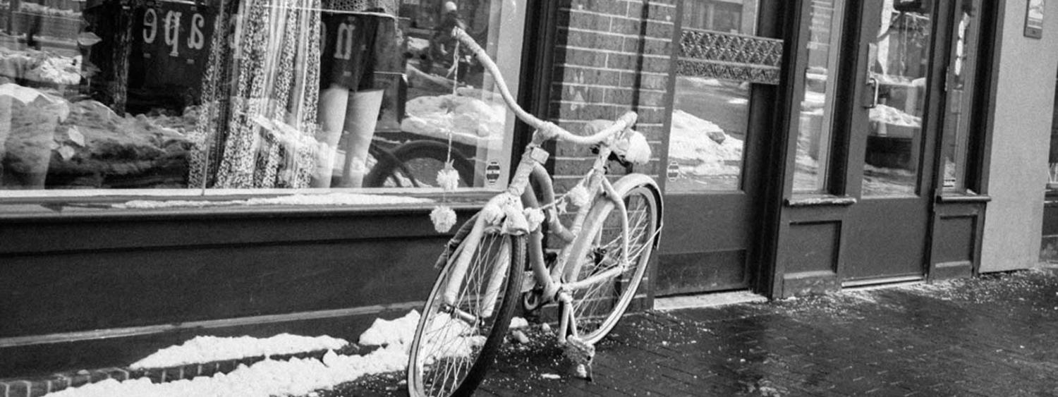 Bicycle storefront black and white photo