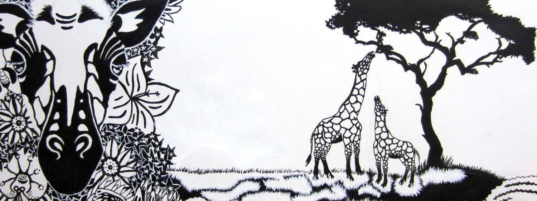 Black and white wildlife painting