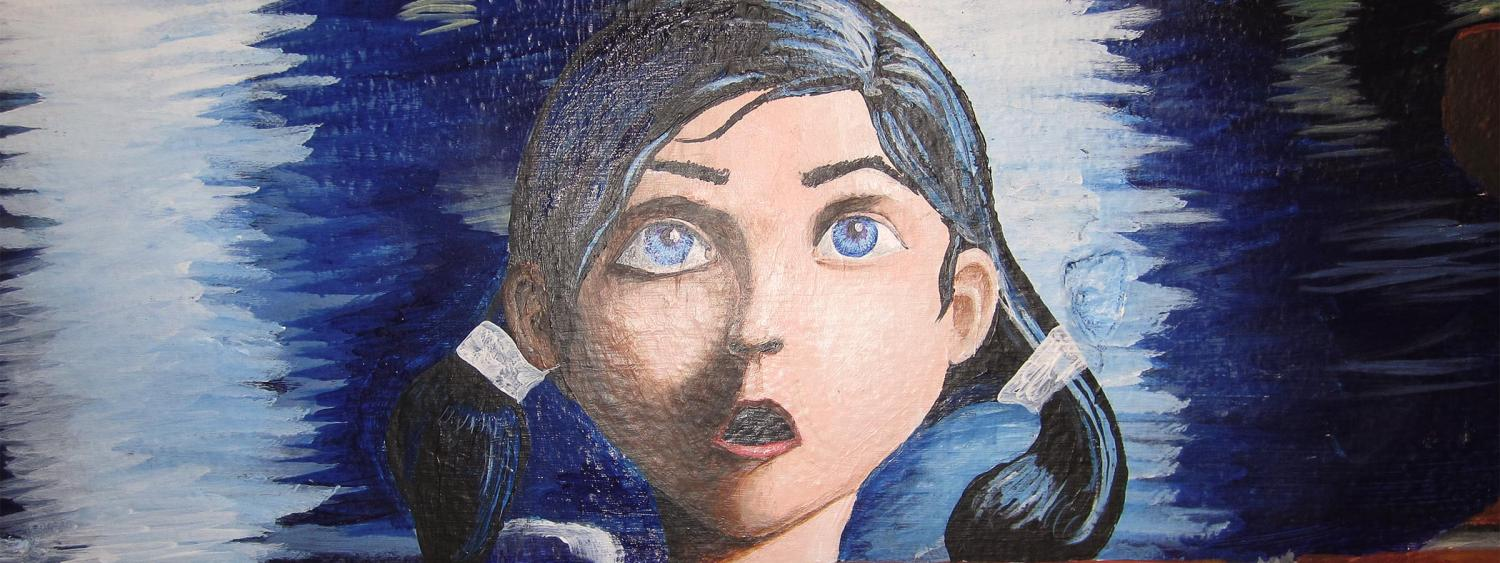 student painting of girl-in-pony-tails' face from Libby RAP mural.