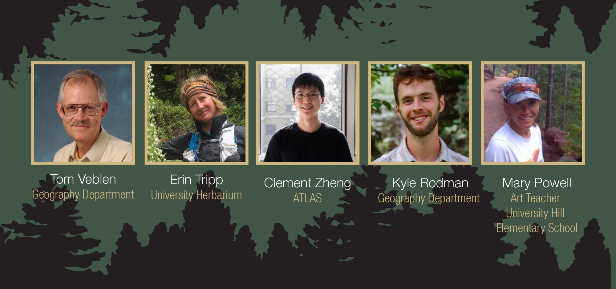 Guest panelist Tom Veblen, CU Geography Department; Erin Tripp, Herbarium; Clement Zheng, ATLAS; and Mary Powell, University Hill Elementary School.