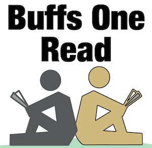 Buffs One Read logo, showing two stick figure illustrations of people holding open books