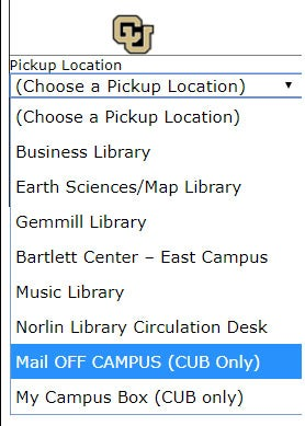 Screenshot of Mail Off Campus option