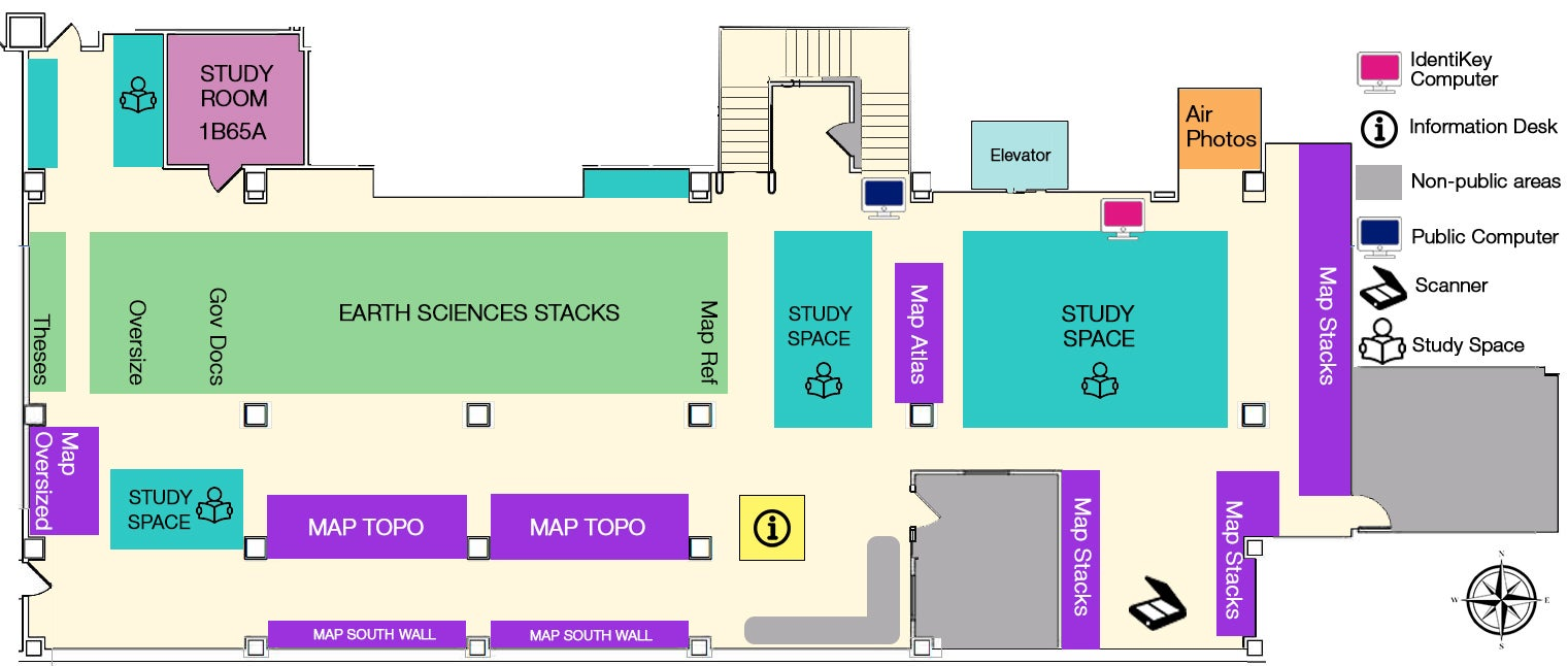 Earth Sciences & Map Library Floor Plan - First floor