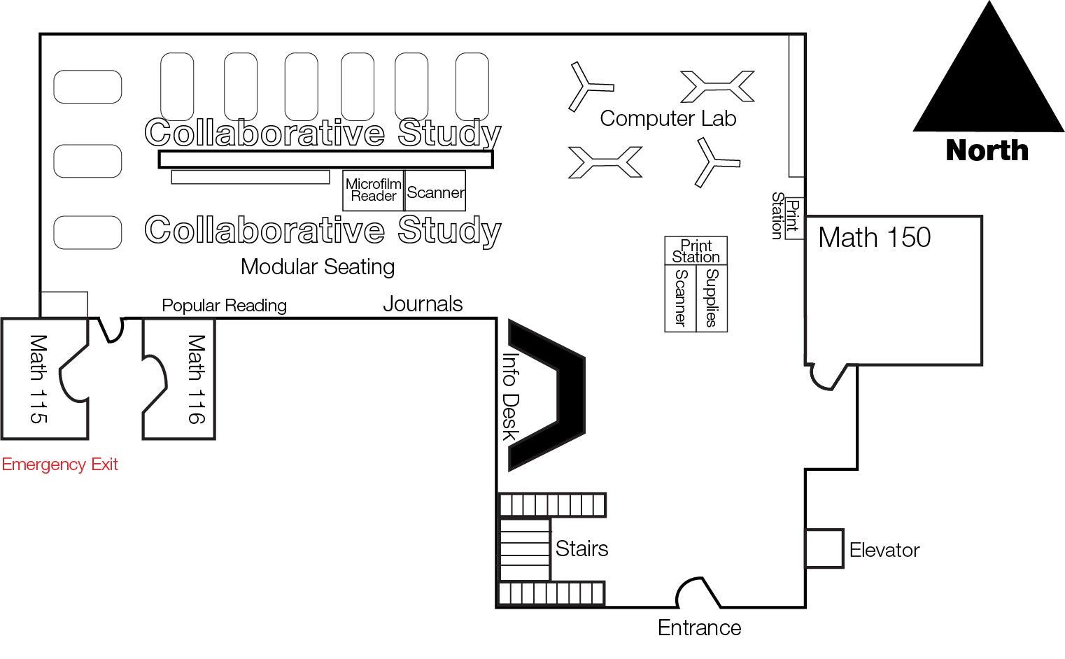 Gemmill Library Floor plan - first floor / entrance level