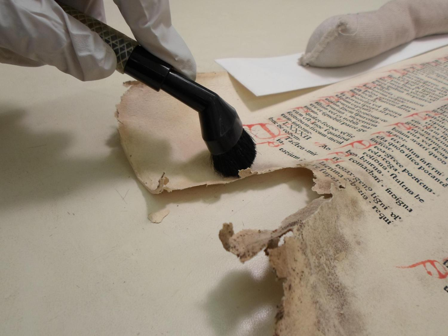 A preservationist works on cleaning an old and damaged document.