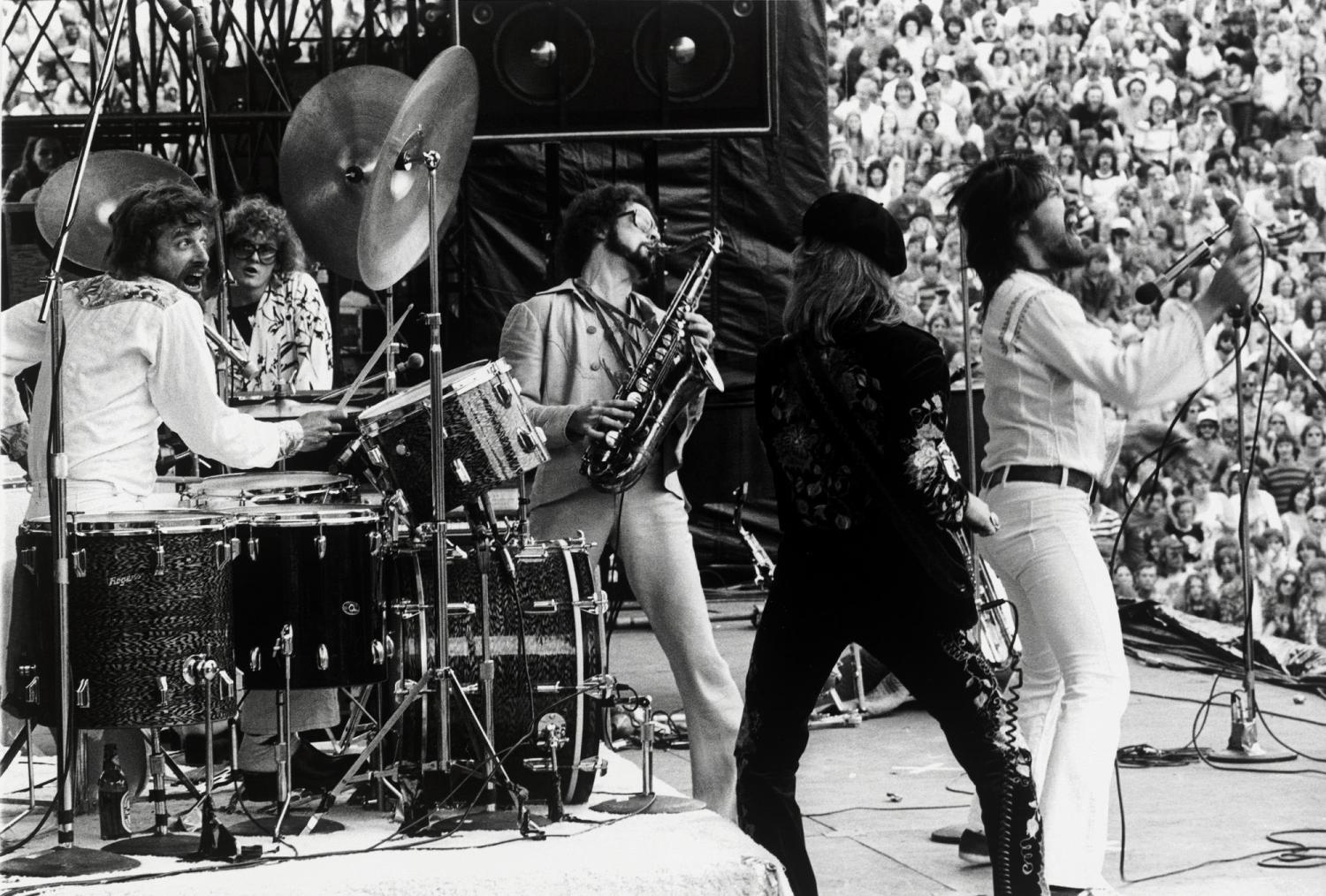 Bob Seeger & the Silver Bullet Band performing at Folsom Field in 1977