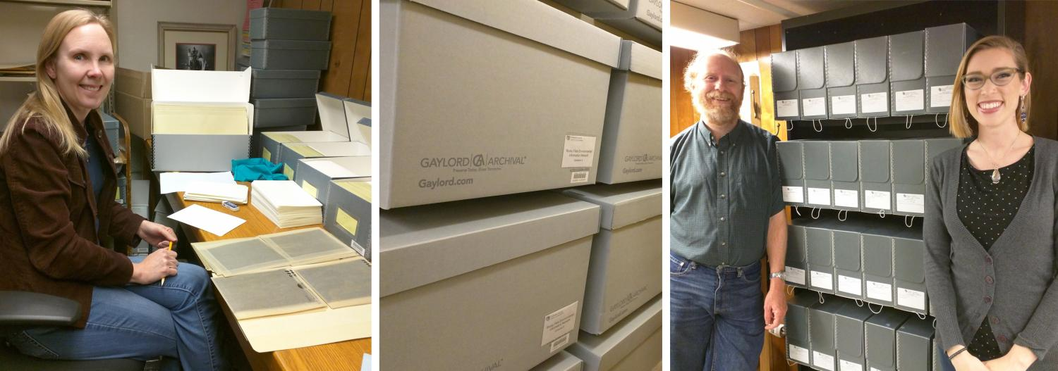 a photo archivist with boxes and files