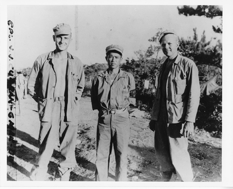 Glen Slaughter, Seiichi Komesu, and Glenn Nelson in Okinawa, 1945