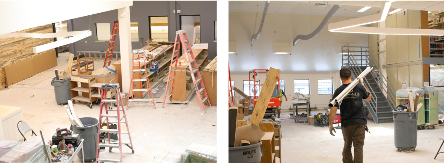 music library renovation collage