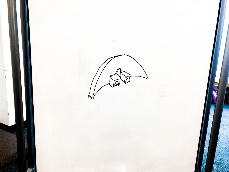 A whiteboard design sketch.