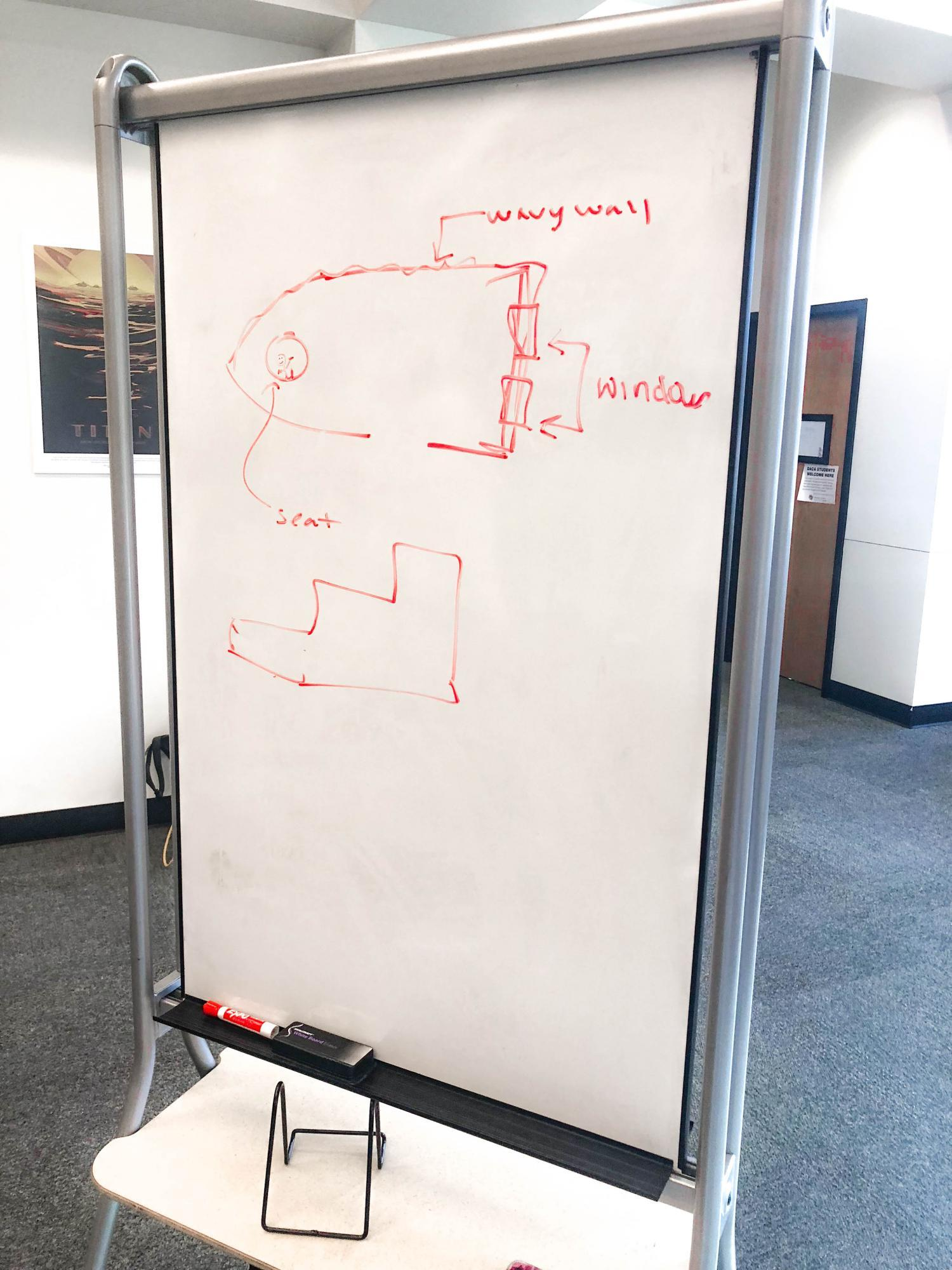Concept art on a whiteboard.