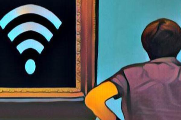 An illustration of a woman looking a painting of a WiFi symbol