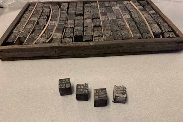 Letterpress with moveable type set for chinese characters