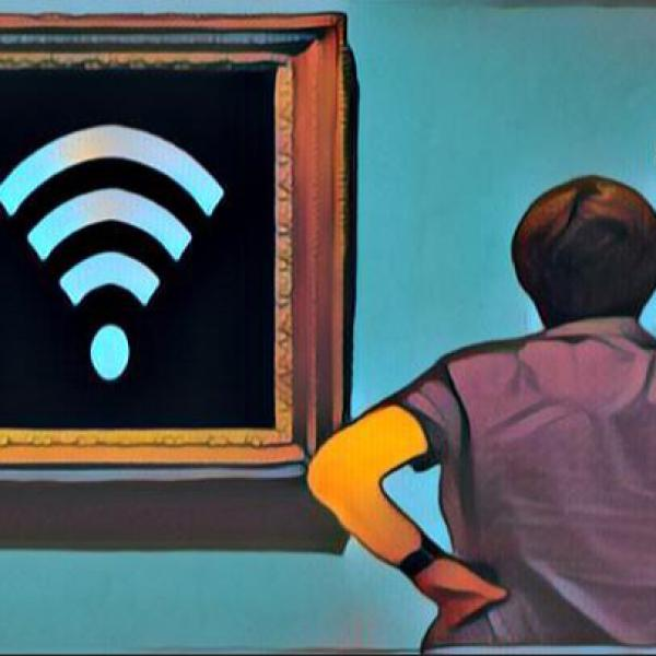 Image from Broadcast Generation 2019 of a woman looking at an art depiction of a wifi symbol