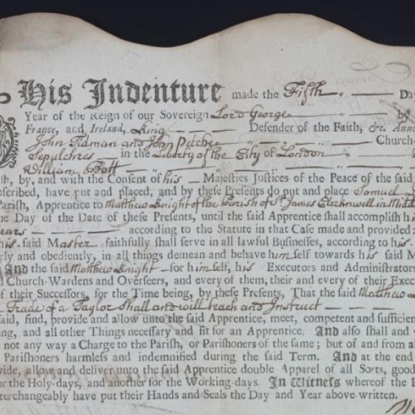 Samuel Davis Indenture, 1719