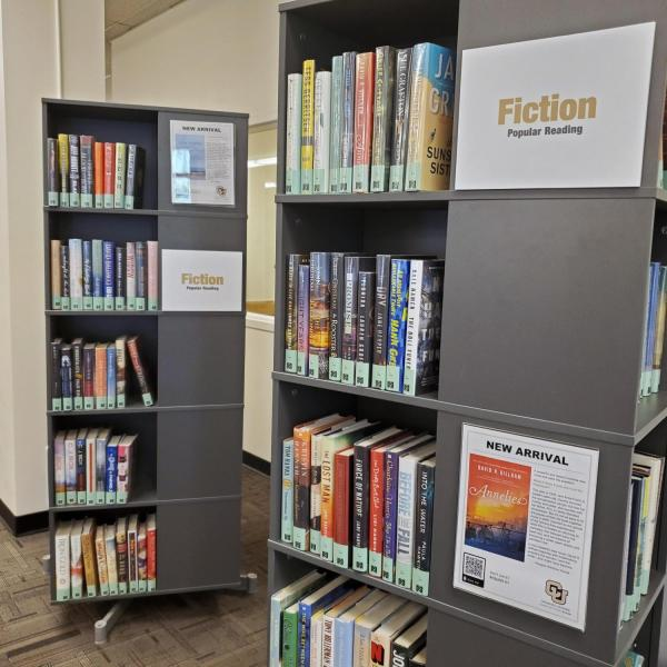 a spinning bookshelf showing one shelf of popular reading titles