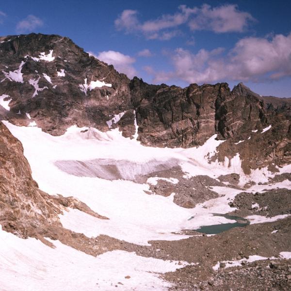 Mountains and a glacial lake