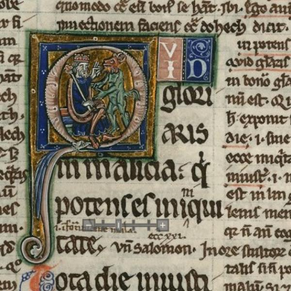 A Medieval Leaf showing a Historiated Initial